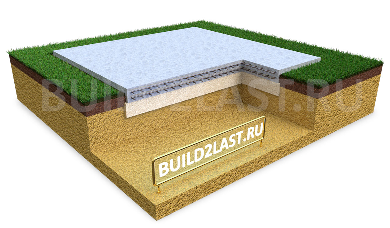 Монолитная плита железобетонного фундамента на песчаной подушке.