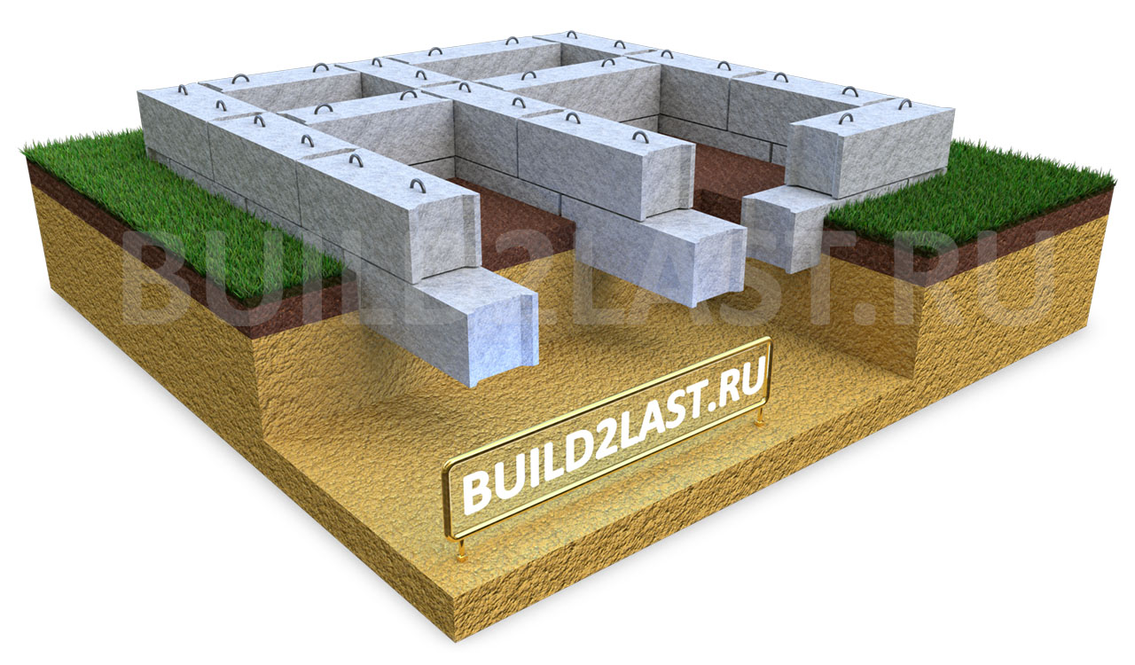 Сборный ленточный фундамент из ФБС (фундаментные блоки стеновые). Блоки между собой соединяются раствором.