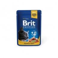 Корм для кошек Влажный корм для кошек Brit, Корм влажный Brit Premium для взрослых кошек лосось и форель 100 г