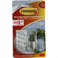 Хозтовары 3M Command 17091CLR легкоудаляемый прозрачный дизайн крючок средние. 0,9кг, 2шт
