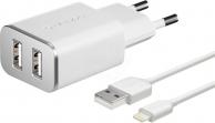Зарядные устройства  Сетевое зарядное устройство, Deppa 2 USB 2.4А + дата-кабель Apple 8pin MFI (белый)