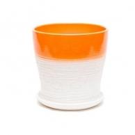 Цветочные горшки Горшки для комнатных растений Цветочный горшок Мармелад керамика с поддоном 13х14 см оранжевый тополь №2